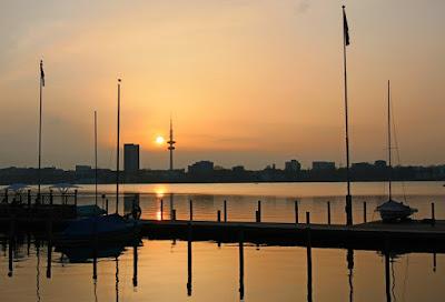 Hamburg Alster Sonnenuntergang