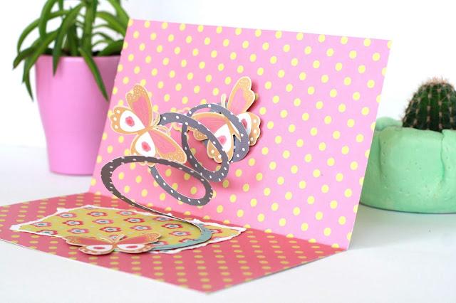 Klappkarte Spirale und Schmetterlinge