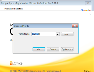 open the outlook,Outlook ask you which profile you want to be the default