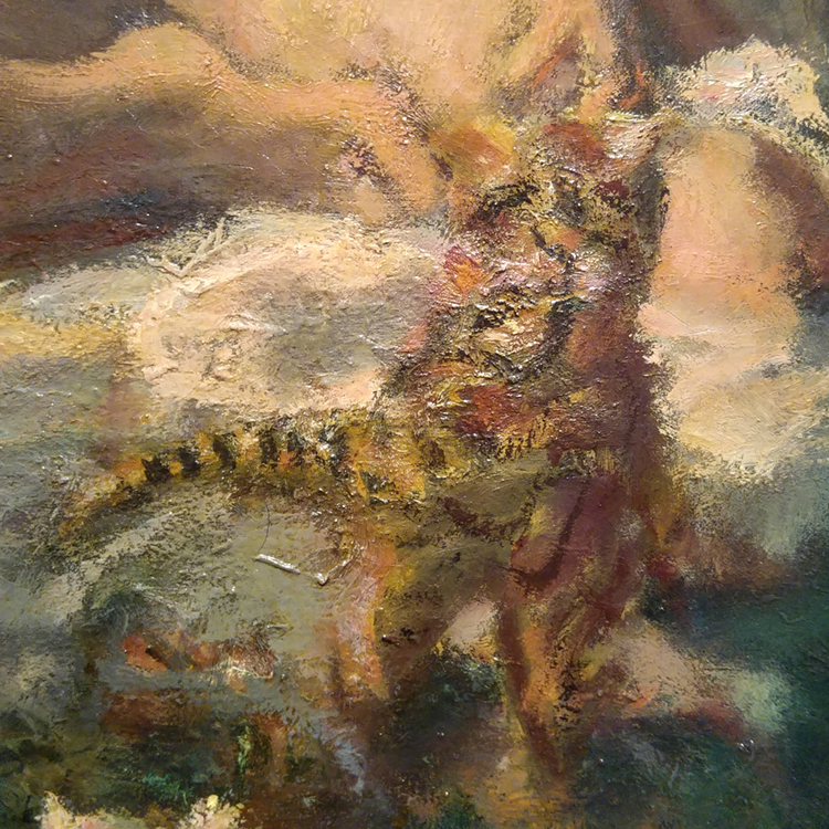 subtle tiger kitty detail from pierre bonnard painting