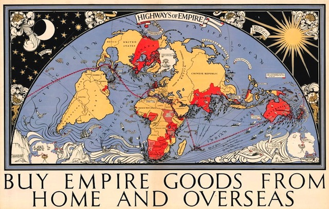 Illustration of global map highlighting the British Empire. Buy empire goods from home and overseas. Laser Kiwi. marchmatron.com