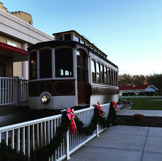 Historic trolley decorated for the holidays at French Lick Resort in Indiana