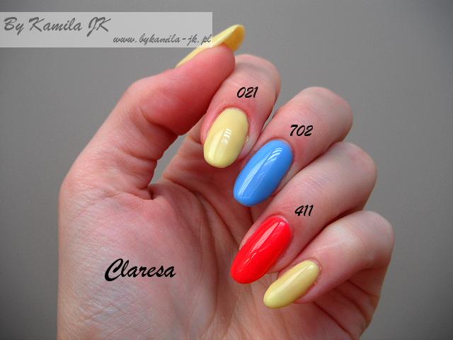 Lakiery hybrydowe Claresa swatche manicure hybrydowy 021 Yellow Rabbit 411 Red Monkey 702 Blue Snake