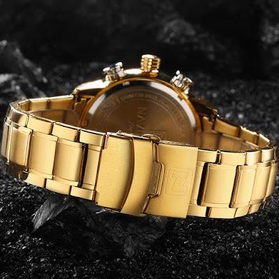 Relógio naviforce 9093 é bom , relógio masculino dourado