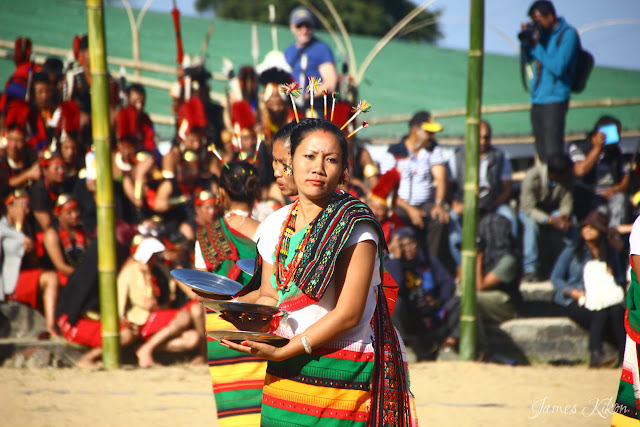Kachari Naga women performing traditional plate dance at Nagaland Hornbill Festival 2015
