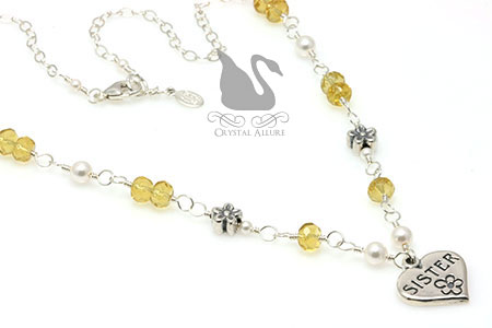 Yellow Daisy Pearl Sister Heart Necklace (N101)