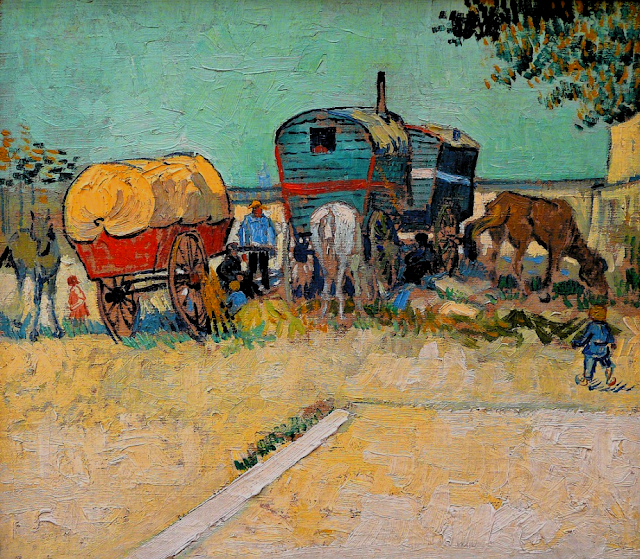 Roulottes bohémiens Van Gogh 1888