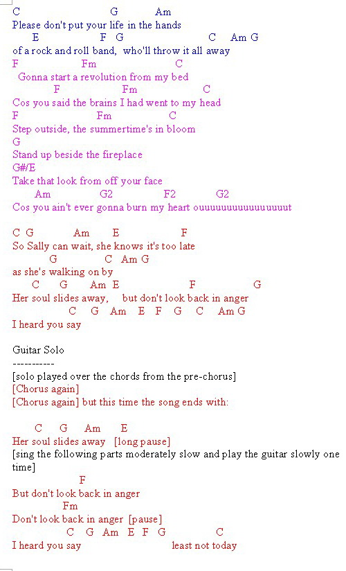 sally can wait oasis chords