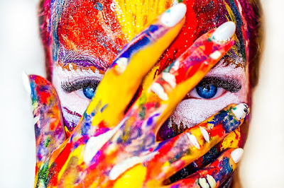 creativity, face, paint, colors, woman, female face, eyes, make-up