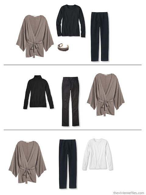 3 outfits in with the 5-piece French capsule wardrobe with taupe