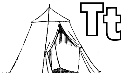 """""""T Is For Tent"""" Alphabet Coloring Page"""