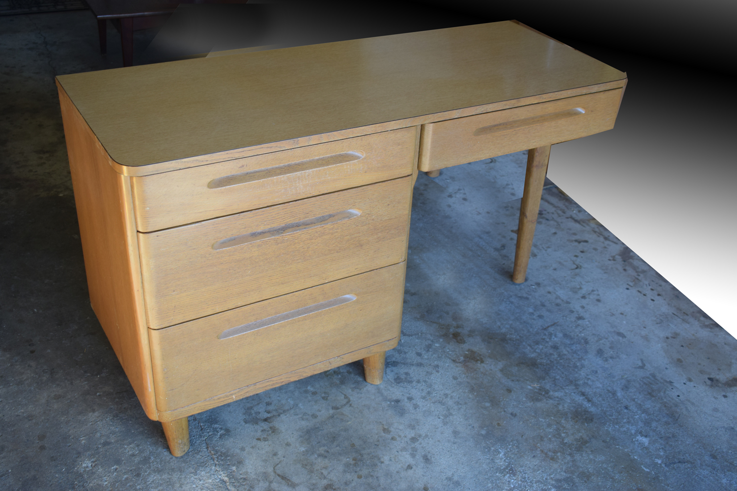 Huntington Chair Corporation Revolving Visitor Affordable Modernism Corp Sleek Lines And Curved Streamlined Drawers Has Tons Of Storage Finger Grip Pulls A Modernist Vision Deco Meets Modern