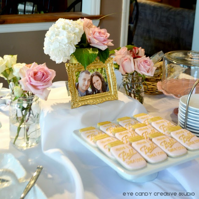 Ball jar cookies, gold frame, roses, bridal shower, ideas for shower