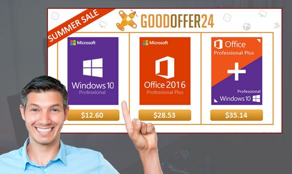 كيفية الحصول على Windows 10 مع $ 12 و Office 2016 بسعر $ 28 ، خصم كبير من Goodoffer24