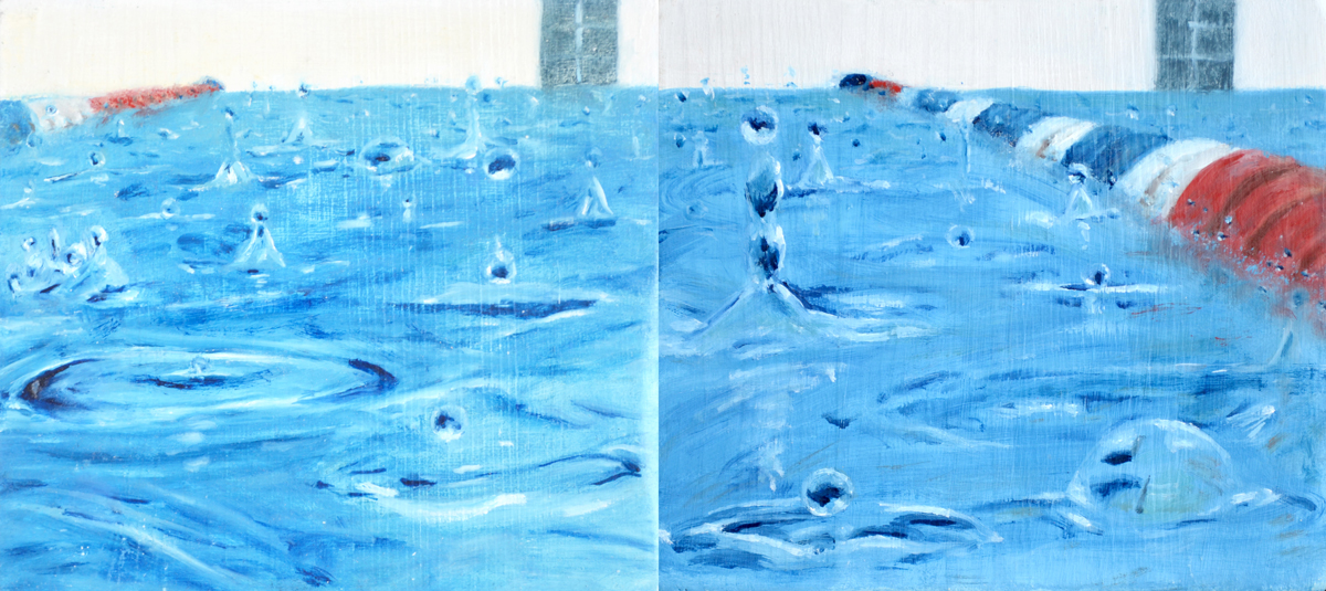 contemporary art, realism, waterdrops, waterscape, blue painting, oil painting, swimming pool
