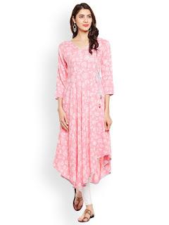 Tissu Women Pink Printed A-Line Kurta