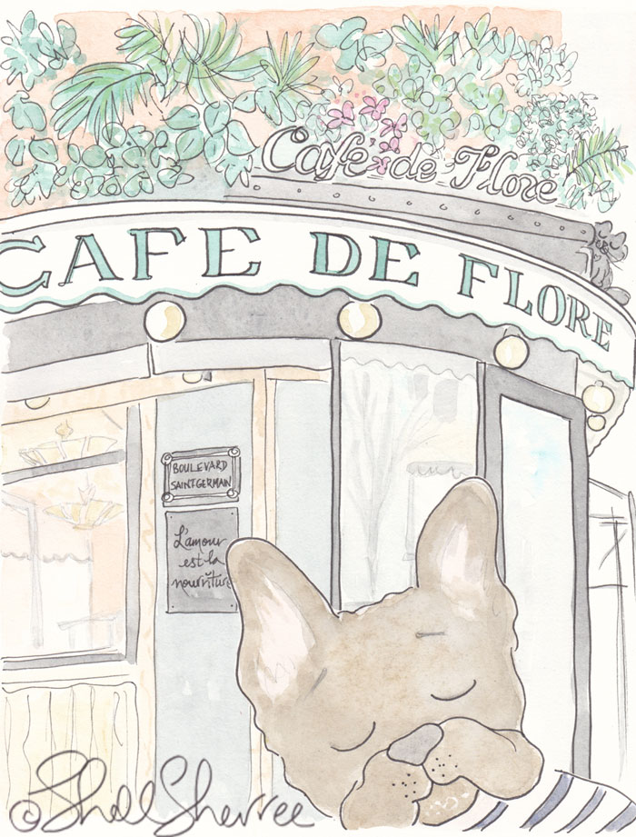 French Bulldog at Cafe de Flore Paris illustration © Shell Sherree