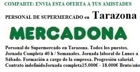 Tarazona, Zaragoza. Lanzadera de Empleo Virtual. Oferta Mercadona