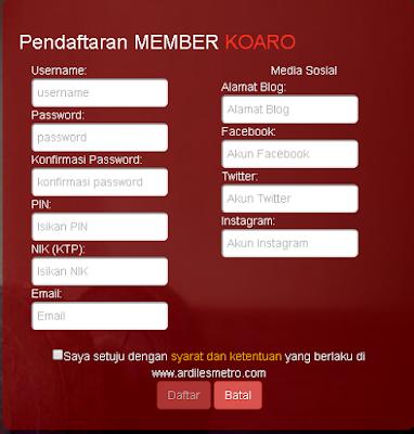 Pendaftaran Member Koaro Ardiles Metro