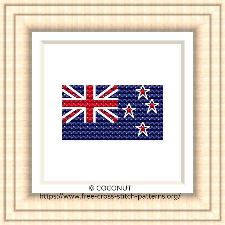 NATIONAL FLAG OF NEW ZEALAND CROSS STITCH CHART