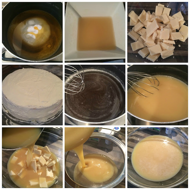 Photographs of the steps for Making the Mirror Glaze