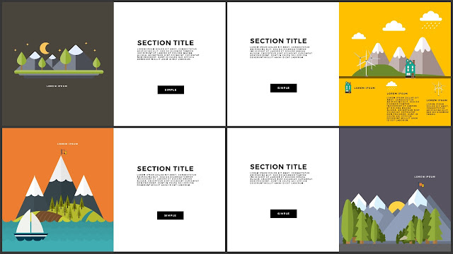 Flat Design Mountains Section Title PowerPoint Template Slide 5-8