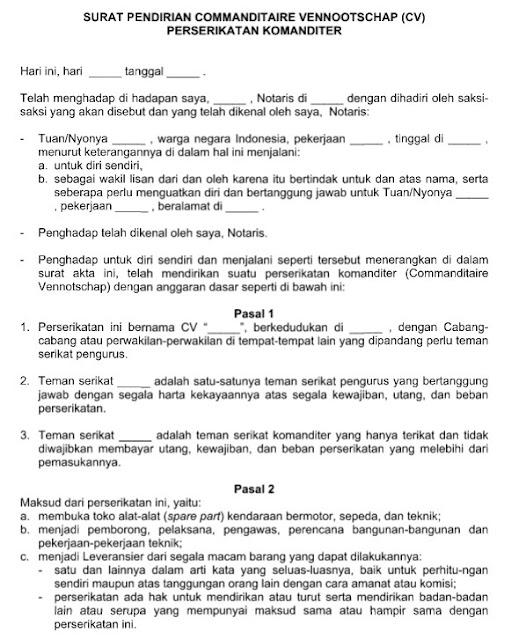 Contoh Surat Perjanjian Pendirian Commanditaire ...