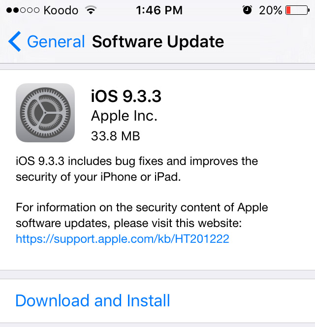 iOS 9.3.3 Changelog