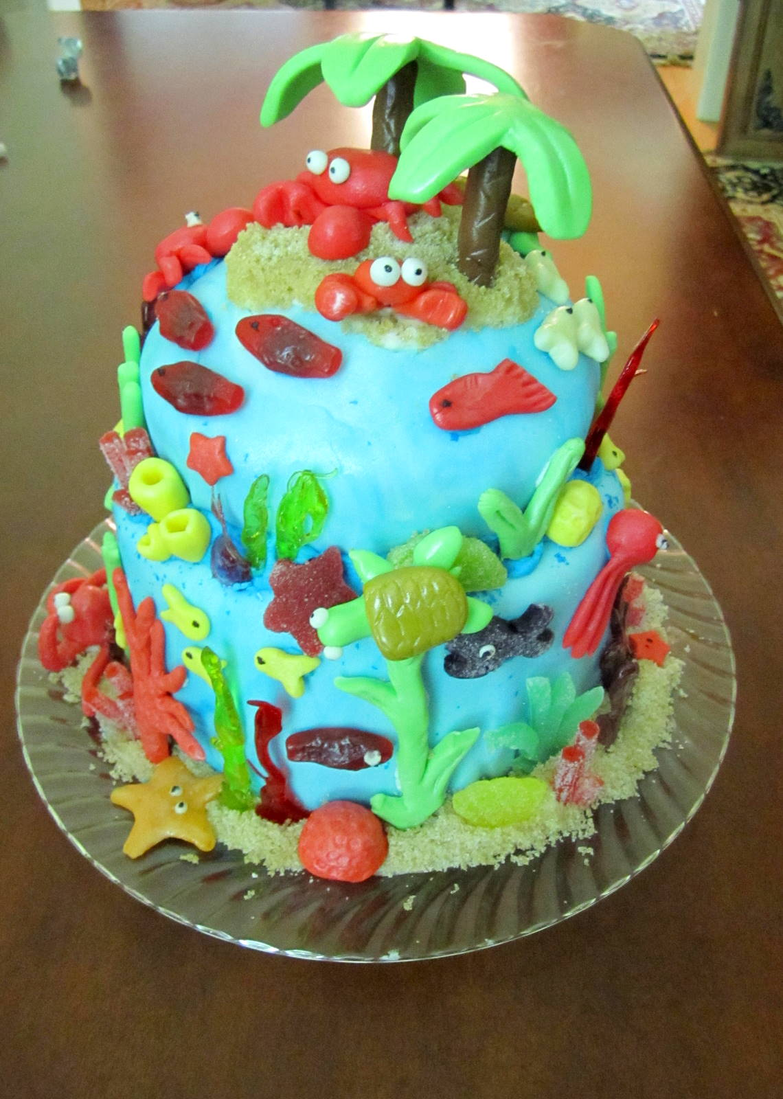 Leafy Tree Tops Coral Reef Ocean Theme Cake
