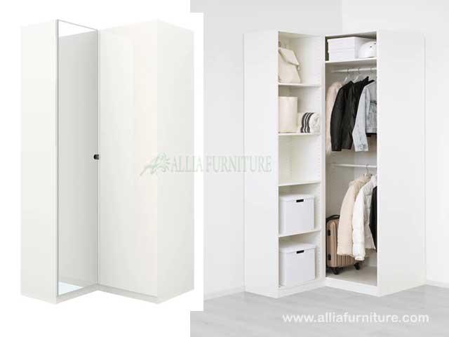 lemari pakaian sudut L 2 pintu