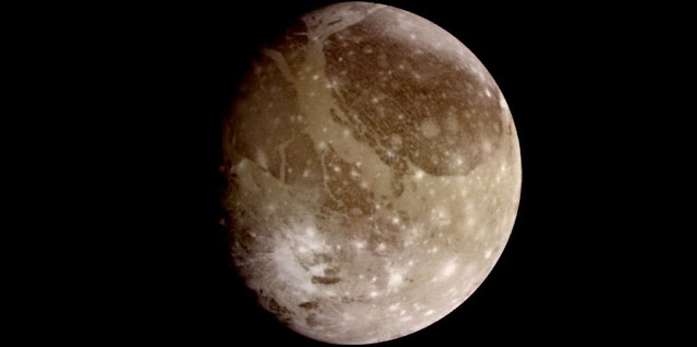 This image of Ganymede, one of Jupiter's moons and the largest moon in our solar system, was taken by NASA's Galileo spacecraft. Credits: NASA