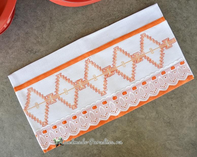 Декорирование полотенца вышивкой счетными швами или протяжками (2)