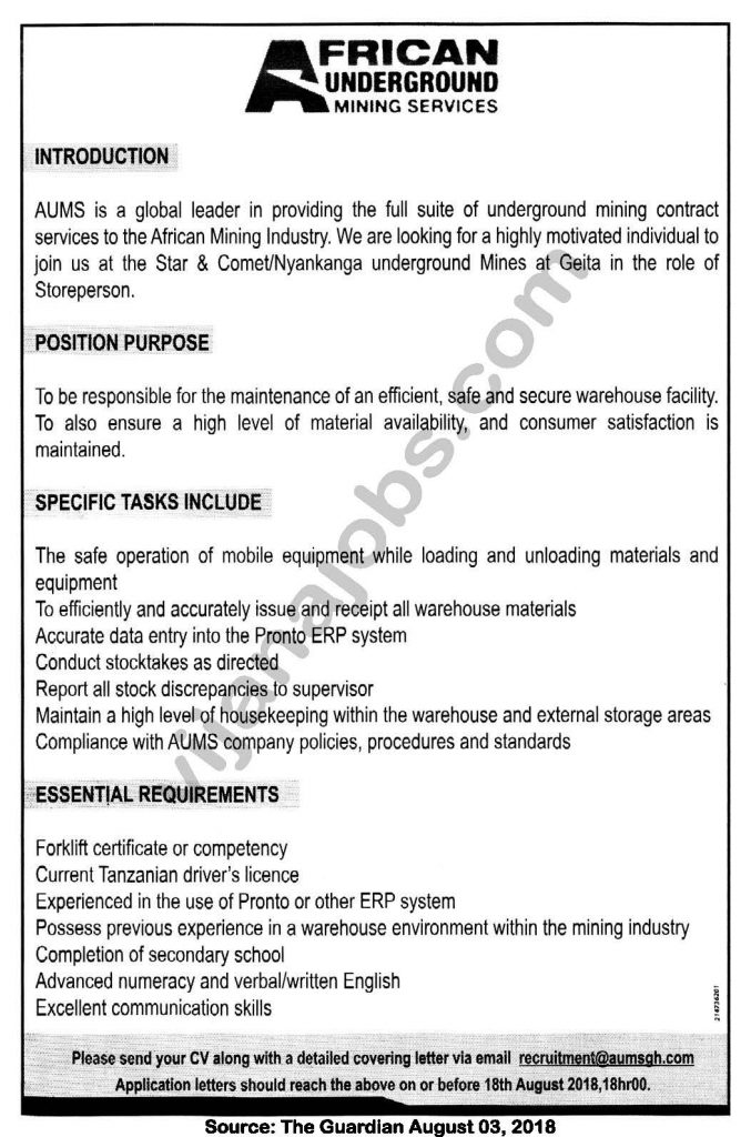 Job Opportunities at African Underground Mining Services