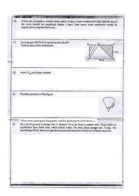 Past papers: Grade 10