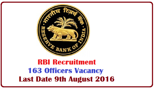 RBI Recruitment – 163 Officers Vacancy – Last Date 09 August 2016 Reserve Bank of India (RBI) invites application for the post of 163 Officers in Grade B (General) by direct recruitment. Apply Online before 09 August 2016./2016/07/rbi-recruitment-notification-201623.html