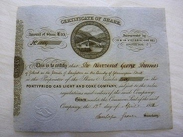Share certificate in the Pontypridd Gas Light and Coke Company Wales