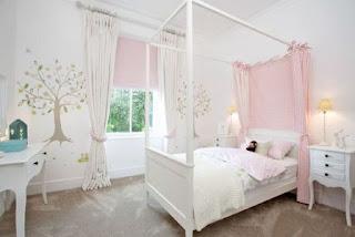 tempat tidur anak perempuan minimalis warna pink