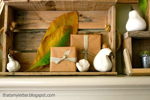 crate and gourds fall mantel