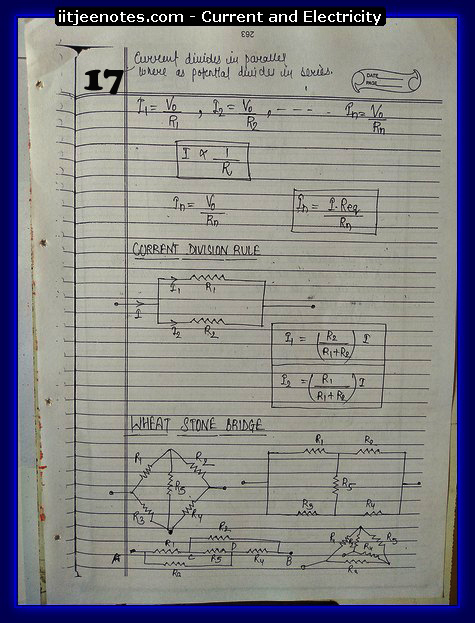 Current and Electricity Notes IITJEE 2
