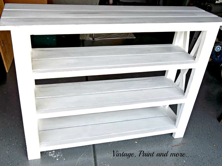 Vintage, Paint and more... diy'd beach inspired rustic x shelf unit painted and distressed using Ana White's plans
