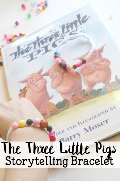 A great way to work on comprehension, order of events, and language skills is through story-telling.  Try this story-telling bracelet!