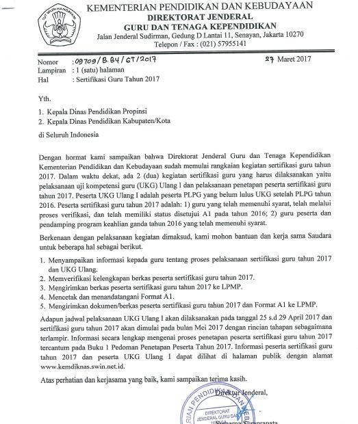Surat Resmi Pelaksanaan Sertifikasi Guru 2017 Pak Pandani