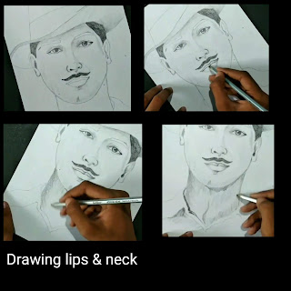 Step by step tutorial for to draw a potrait of Bhagat Singh