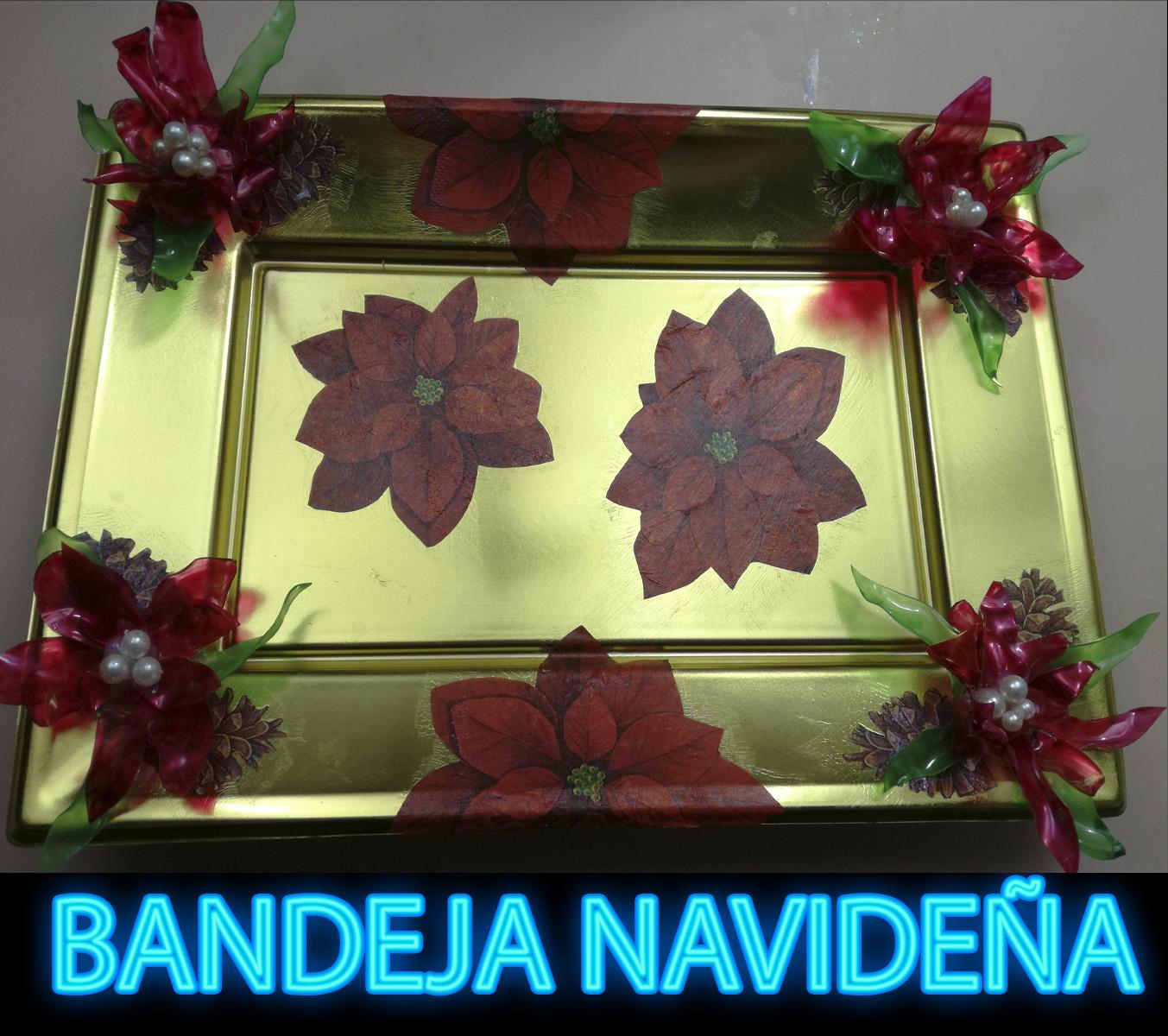 Diy c mo decorar una bandeja con decoupage y flores de for Bandejas de navidad