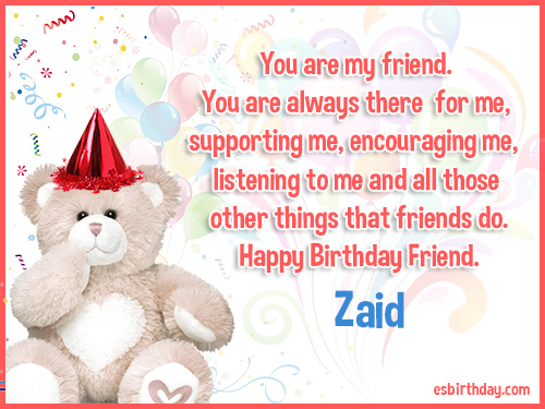 Zaid Happy birthday friends always