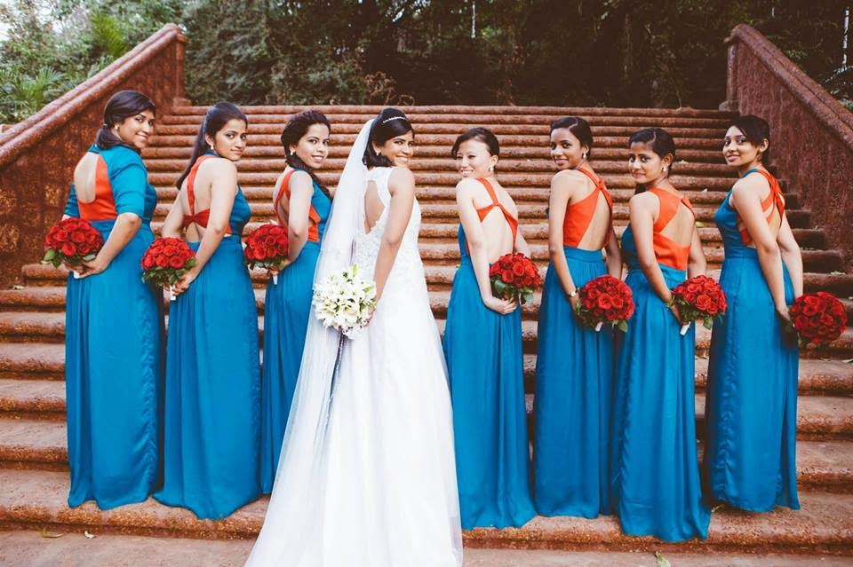 bridesmaid dresses bouquets indian