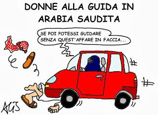 umorismo, arabia saudita, patente alle donne, burqua, vignetta