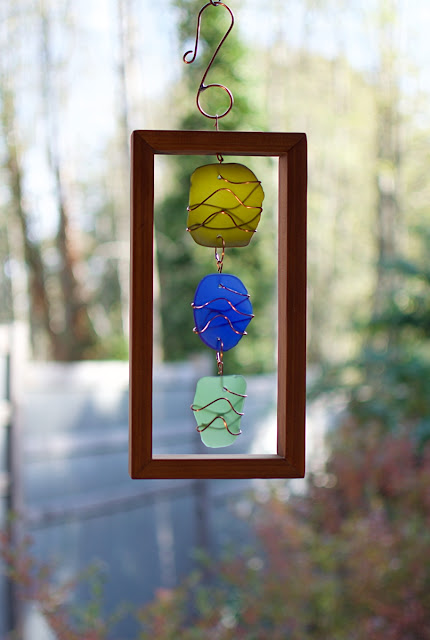 Framed glass and copper suncatcher by Coast Chimes, Gibsons, BC