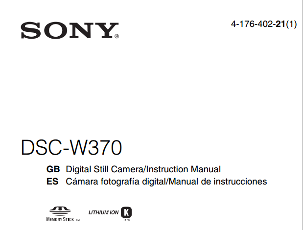 Sony Cyber-shot DSC-W370 User Manual