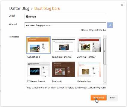 Form Membuat Blog Baru Di Blogger - Entriwan